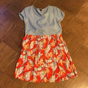 River Island Chambray Tropical Print Dress